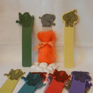 segnalibro elefante con confetti